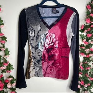 🌹Anac Designed By Kimi Black Red Rose Top Small